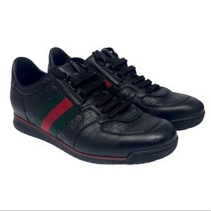 Gucci Leather Web Sneaker Black